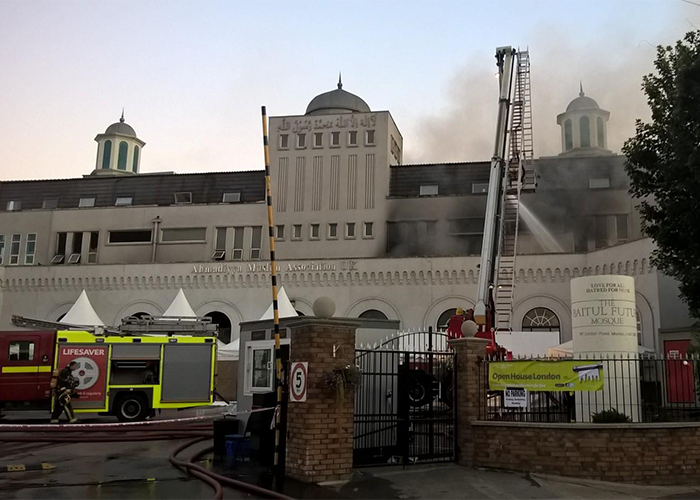 Europe's Largest Mosque Sited in London Badly Damaged by Fire