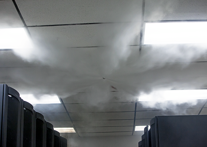 Novec 1230 fire protection fluid from 3M, being dispersed into a data centre.