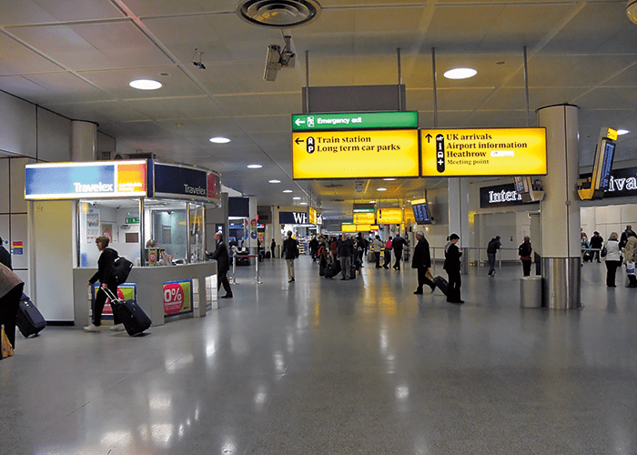 A typical large circulating area of an Arrivals Hall at London's Heathrow Airport.