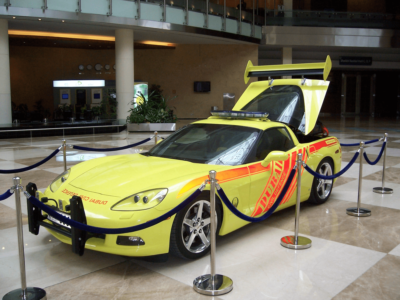 One of Dubai Civil Defence's Corvette Stingray fast response cars pictured at an annual Intersec Exhibition.
