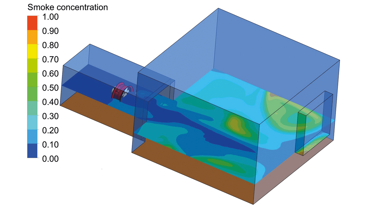Figure 6: When the fan is running the smoke is almost completely dissipated in the line of the fan.