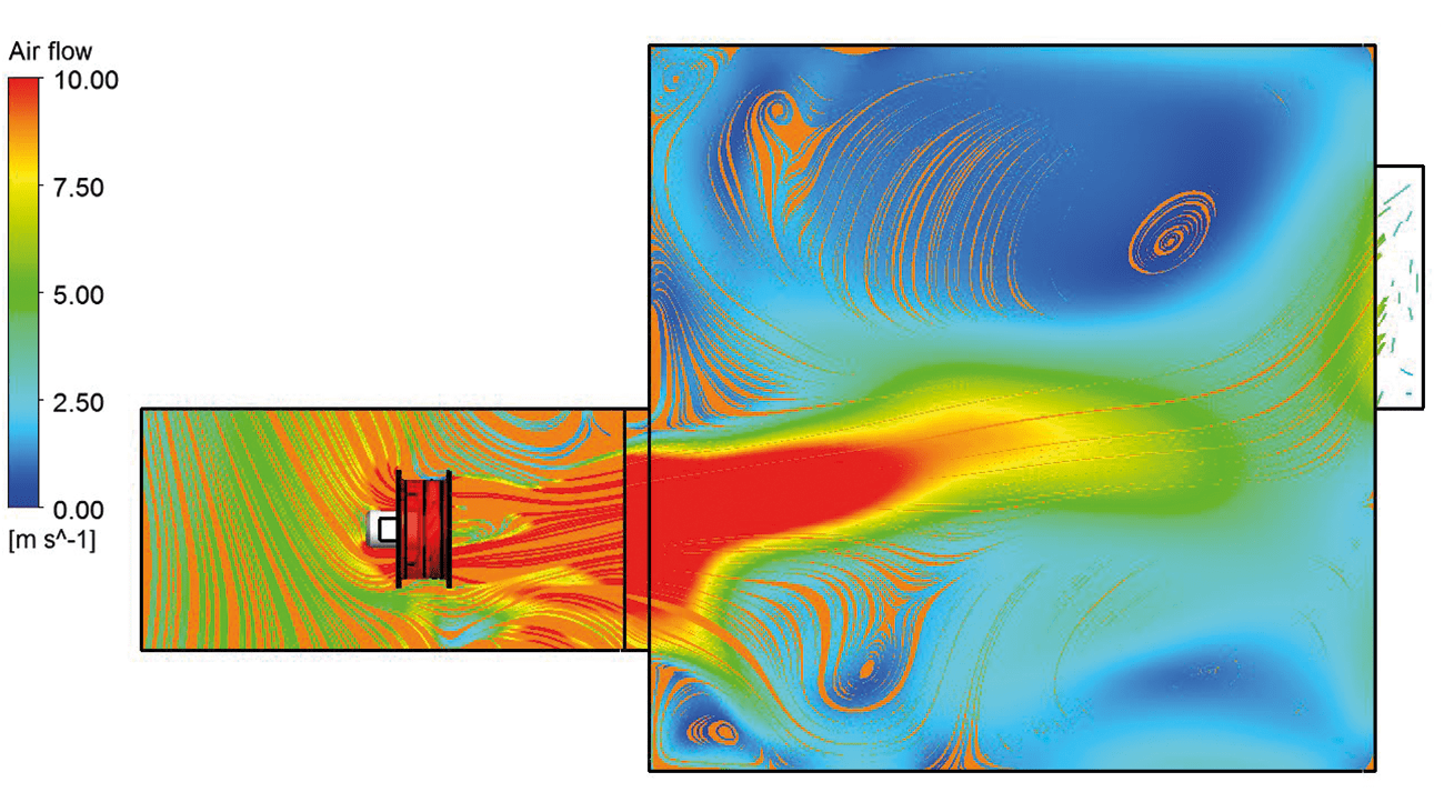 Figure 9: PPV fan blowing from the open ambient into the room.