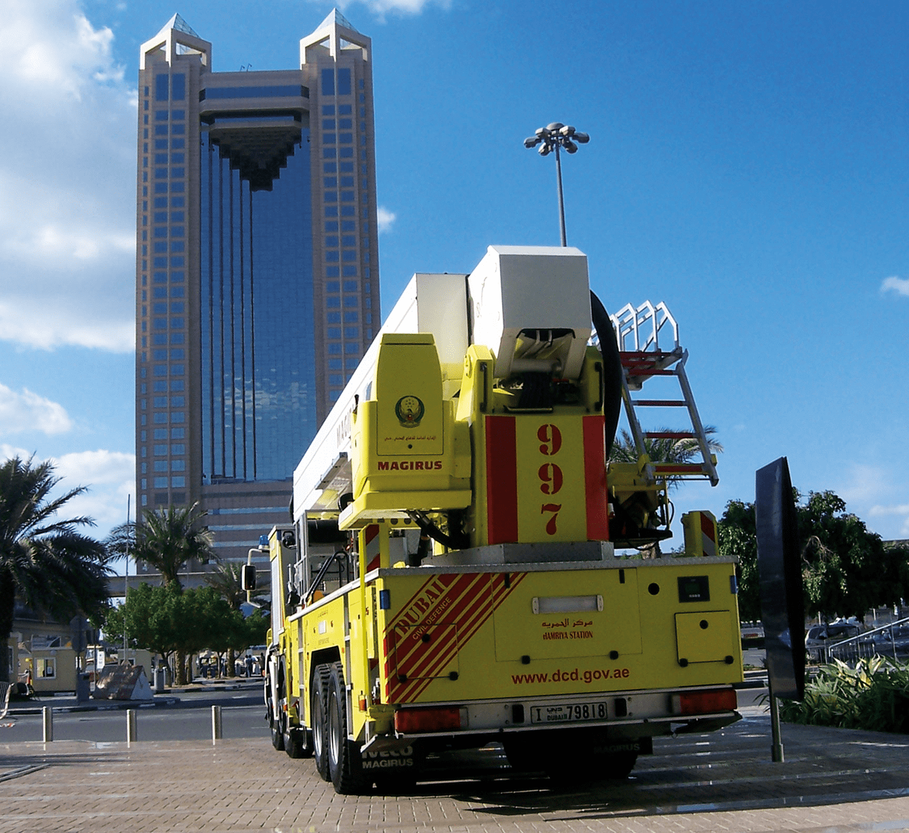 A Dubai Civil Defence 54 metre aerial ladder platform pictured outside the iconic Fairmont Hotel tall tower.