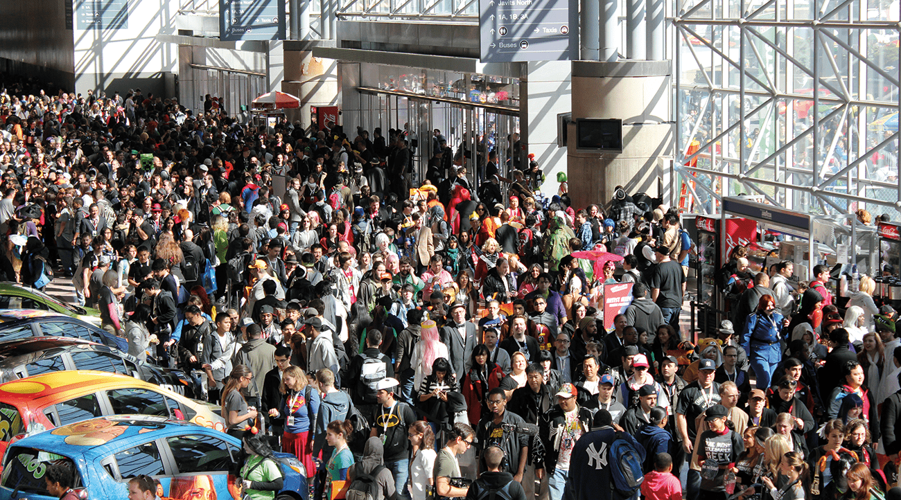 Massed tourists in New York at Comic Con 2012.