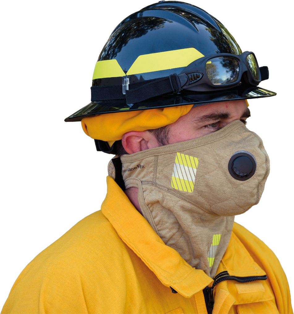 BarriAire Gold Face Mask with Neck Gaiter. Shown with segmented trim, exhalation valve.