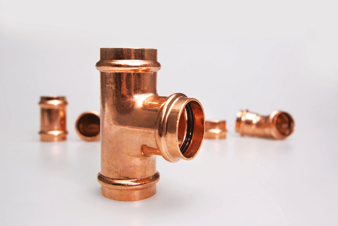 The use of flame-free copper press fittings provides a secure, 'greener' jointing.