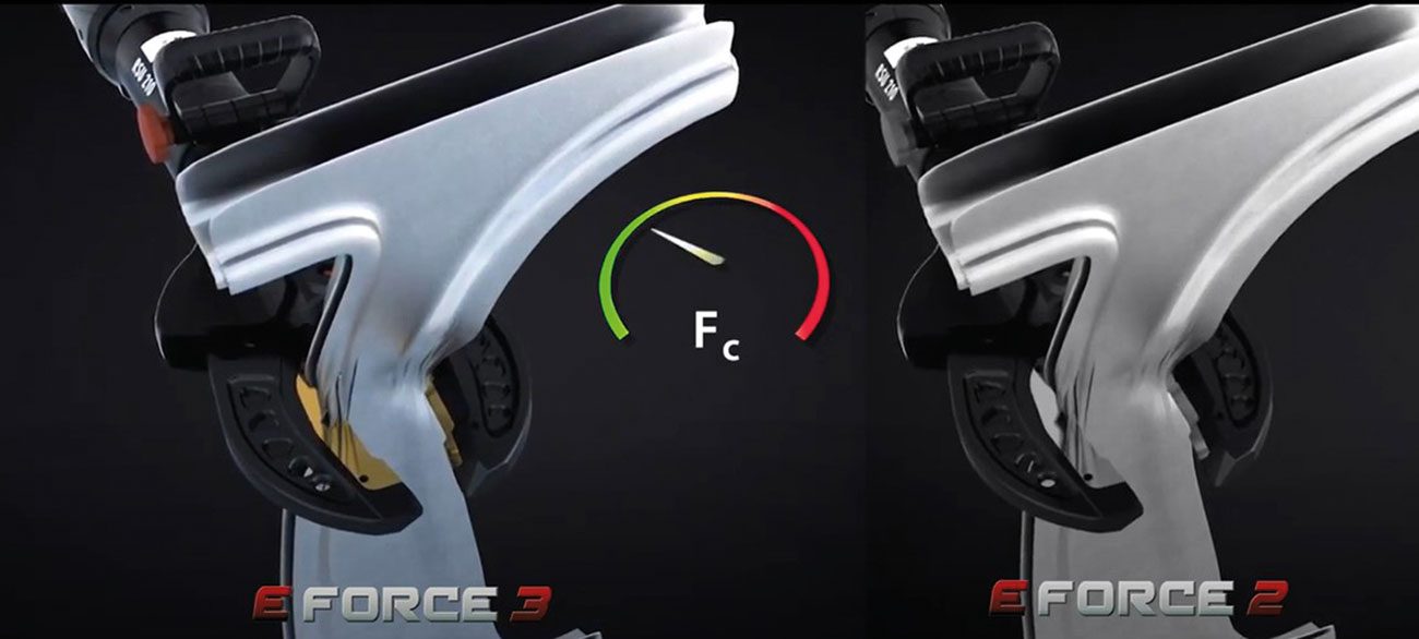 The new generation of E-FORCE cutters are much faster in cutting – this example shows the cutting of a B-pillar in comparison to the previous E-FORCE2 series.