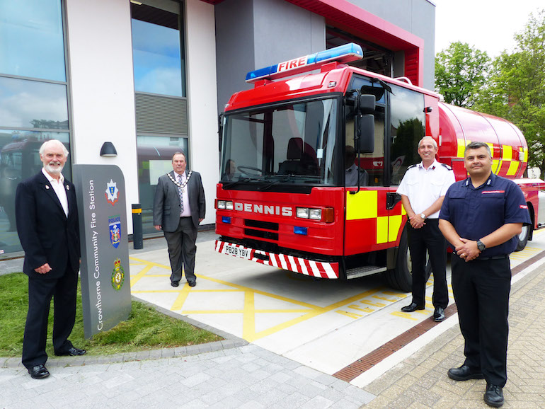 From left to right: Councillor Angus Ross, Lead Member for Strategic Assets, Royal Berkshire Fire Authority; Councillor Colin Dudley, Chairman, Royal Berkshire Fire Authority; Simon Shilton, Assistant Chief Fire Officer, Avon Fire and Rescue Service and Paul Kirk, GAFSIP Trustee, Avon Fire and Rescue Service. (RBFRS)
