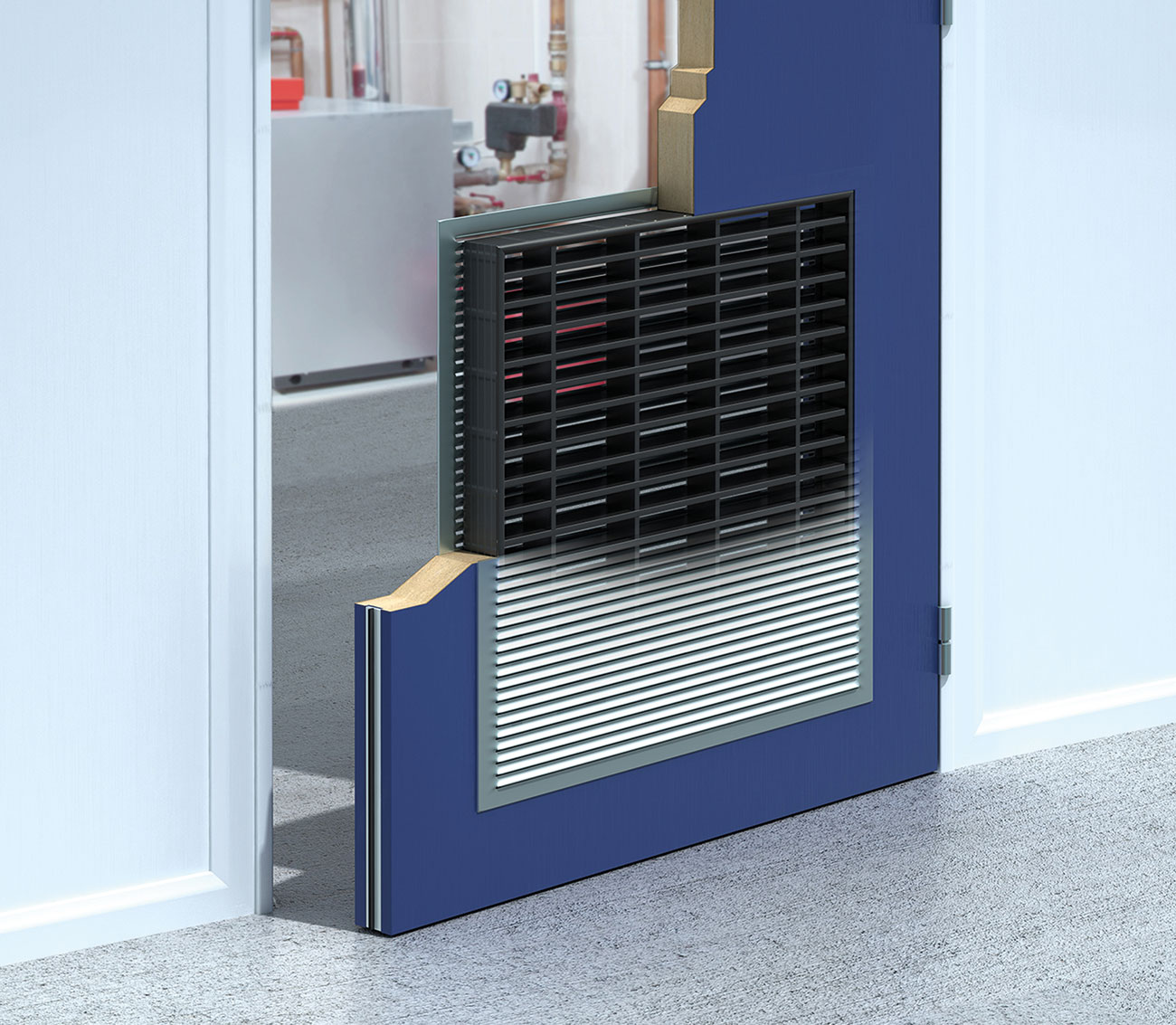 Cutaway view of fire door with intumescent grille.