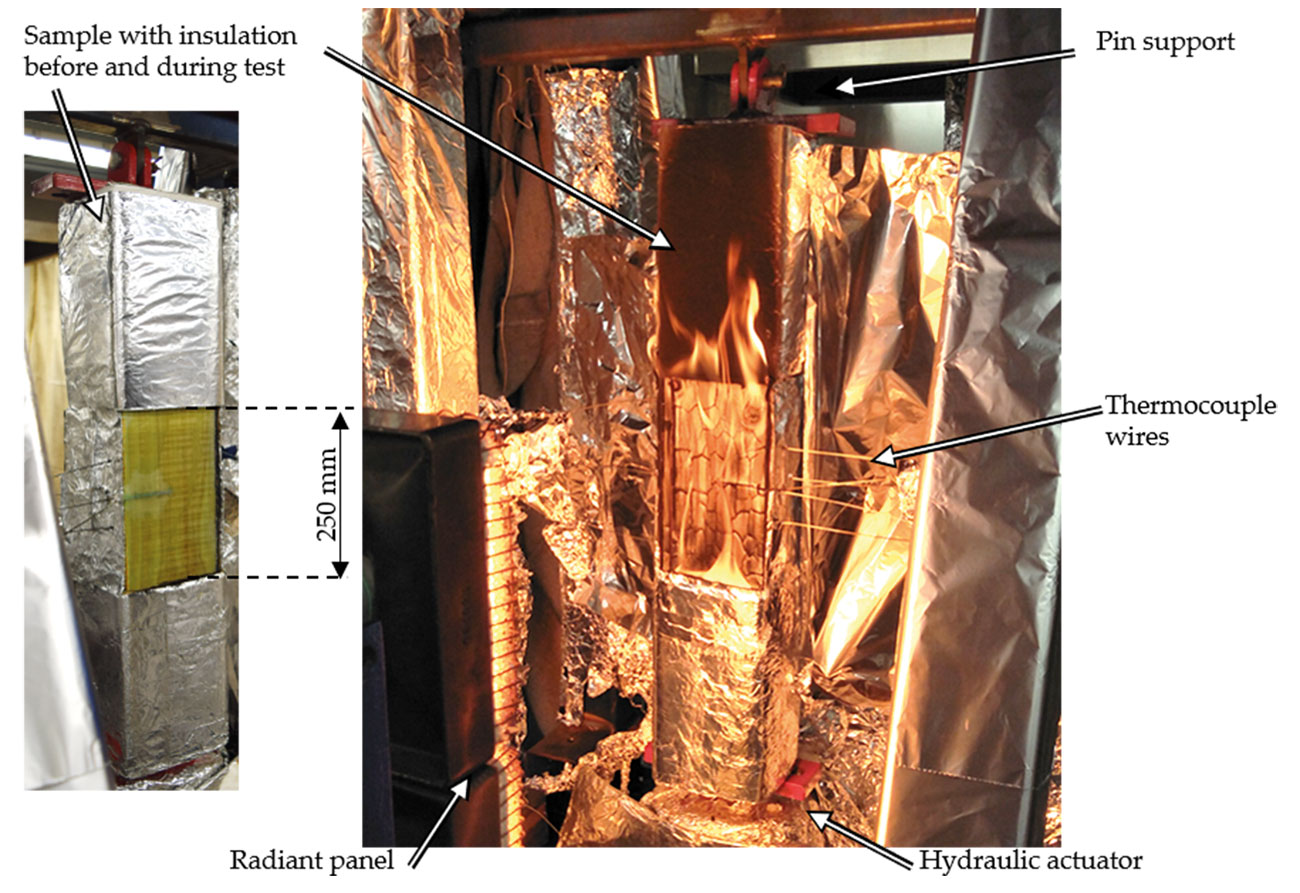 CLT column with glass-fibre mat, thermocouples and insulation before heating. Right: Burning CLT column (without glass-fibre mat) exposed to mechanical load in the loading frame, placed at a carefully calibrated distance in front of a gas-fired radiant panel to achieve the desired radiant heating. This picture was taken shortly after ignition but before the first char fall-off occurred.